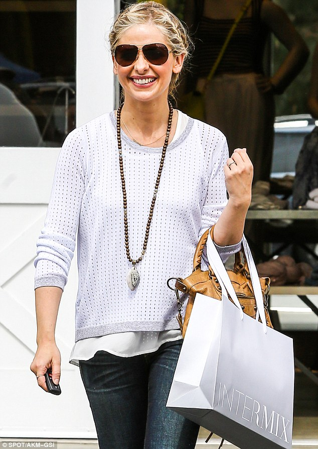 Retail thearpy: Sarah Michelle Gellar, 36, was seen leaving the Intermix retail store in Brentwood on Friday
