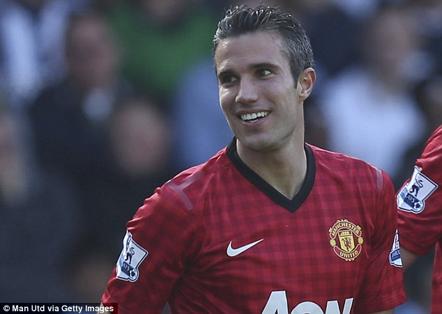 All smiles: Van Persie celebrates scroing against the Baggies last season