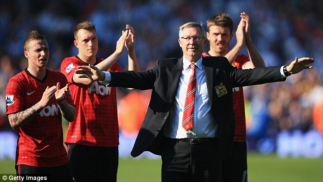 End of an era: Sir Alex Ferguson is applauded by players after his 1,500th and final match in charge of United