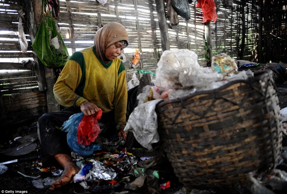 One woman, pictured, who has no shoes on her feet, sits and sorts through the rubbish before bagging it up