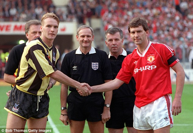 Captain fantastic: Robson shakes hands with Geoff Thomas before the 1990 FA Cup final