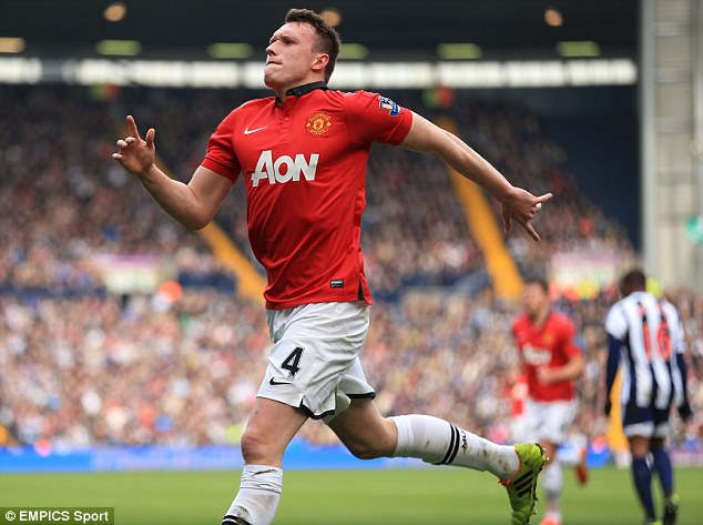 Keeping up with the Jones': United's Phil Jones celebrates scoring against West Brom at The Hawthorns