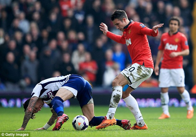 I will take that: United striker Van Persie challenges West Brom defender Liam Ridgewell