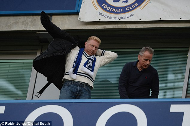 Famous face: Former tennis player Boris Becker was on of the interested spectators at Stamford Bridge