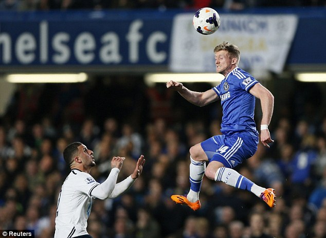 Giant leap: Chelsea's Andre Schurrle rises above Walker to head a chance