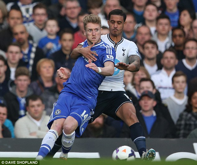 Grabbing hold of: Kyle Naughton keeps a close eye on Schurrle as he tries to turn away