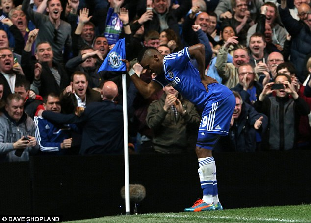 Sense of humour: Eto'o aims his celebration at those saying he is too old for the Chelsea team