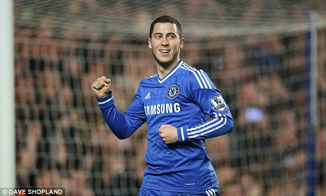 On target: Eden Hazard celebrates after putting Chelsea two goals ahead from the penalty spot