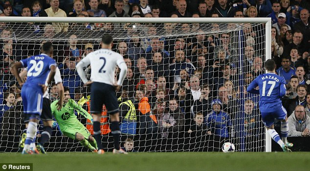 Finding the corner: Eden Hazard calmly slotted the ball past Hugo Lloris in the Spurs goal