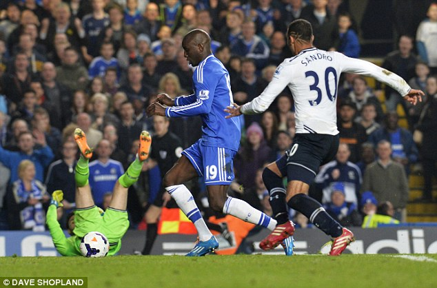 Taking advantage: Demba Ba scored Chelsea's third and fourth goals of the evening