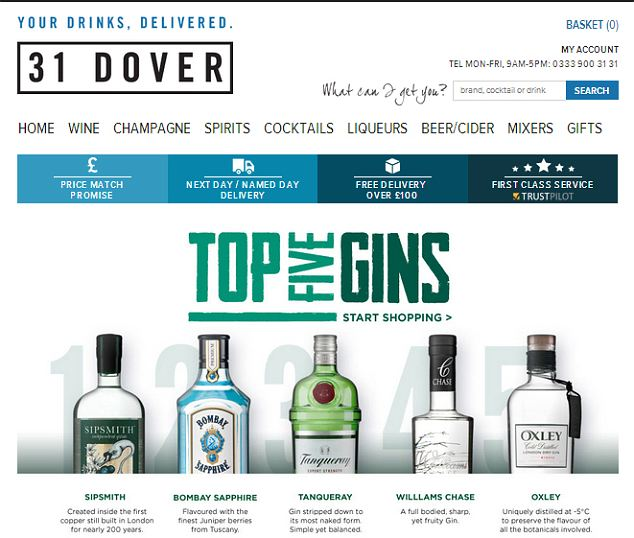 The 31Dover website sells various upmarket alcohol brands as well as fine wines.