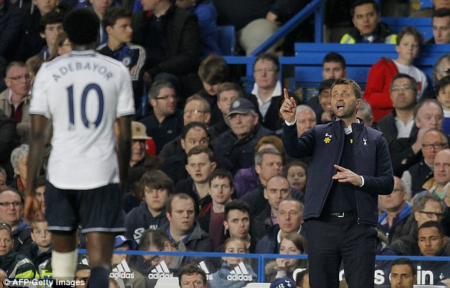 No joy: Sherwood tries to articulate his intentions to his players from the touchline