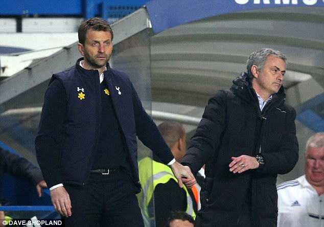 Fuming: A sympathetic Jose Mourinho shakes Tim Sherwood's hand after Spurs were dismantled at home