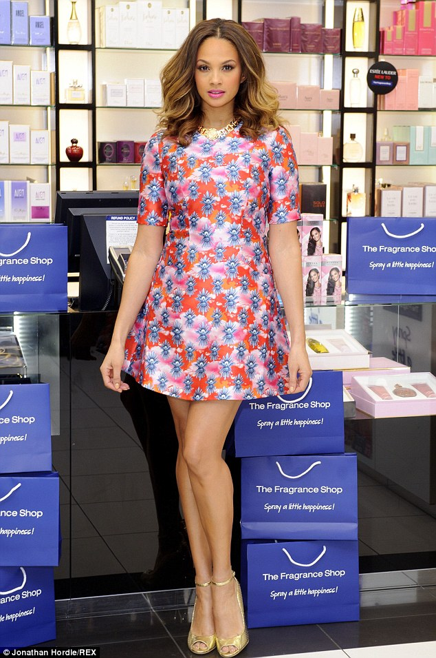 Post baby perfection: Alesha Dixon looks radiant and showed off her post baby shape as she launched her new fragrance Rose Quartz in London's Westfield on Saturday