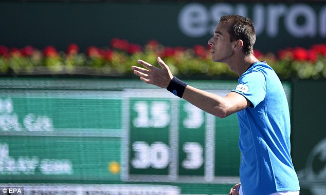 Questioning: Rosol argues after a line call during the first set which he went on to win