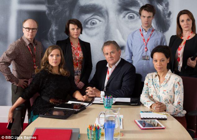 Executive decision: Hugh Bonneville, centre, a BBC official Ian Fletcher in the forthcoming comedy W1A