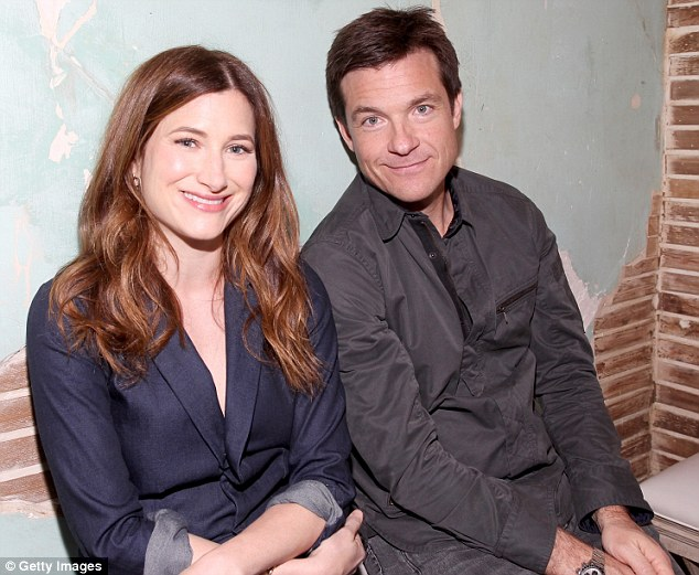 Having fun? Things appeared more tame in the corner Kathryn Hahn and Jason Bateman hung out in the Funny or Die area