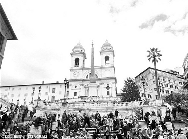 Seeing the sites: the model posted pictures on Instagram of the famous Spanish Steps in Rome