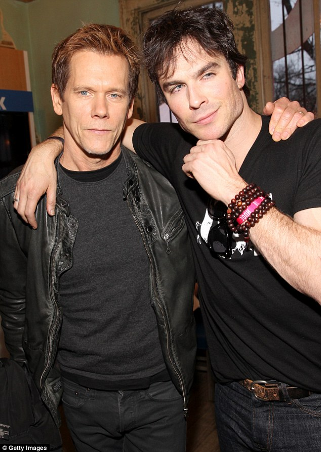 Macho men: Kevin Bacon, left, and Ian Somerhalder, right, showed off their masculine sides as they posed toegether