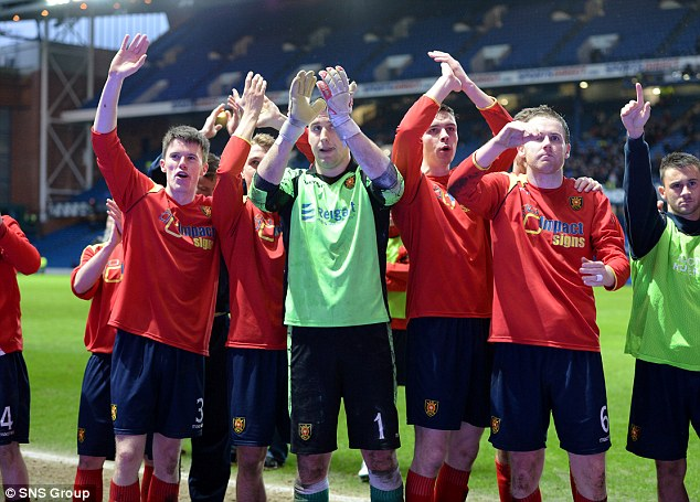 Applause: The Albion Rovers players salute their fans after an excellent performance