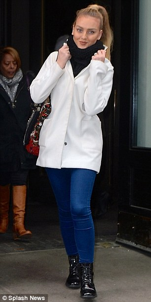 Cute: Perrie sported a high ponytail and blue jeans for her outing