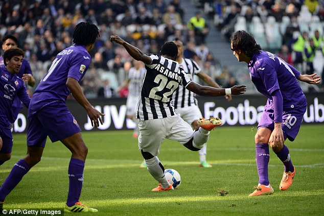 Excellent striker: The midfielder found space inside the Fiorentina box to beat his markers and fire home