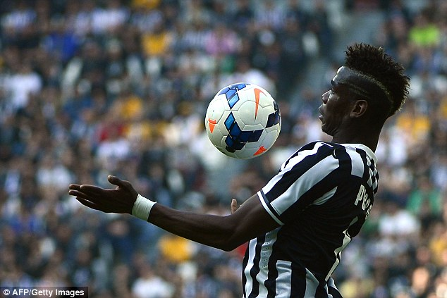 Skill: Former Manchester United midfielder Paul Pogba controls the ball on his chest