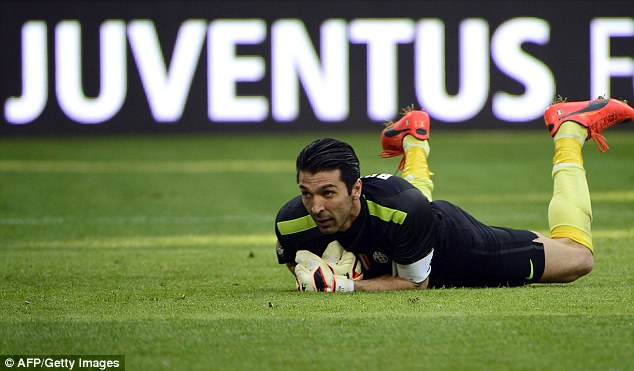 Solid: Juventus keeper Gianluigi Buffon watches on as he keeps another clean sheet