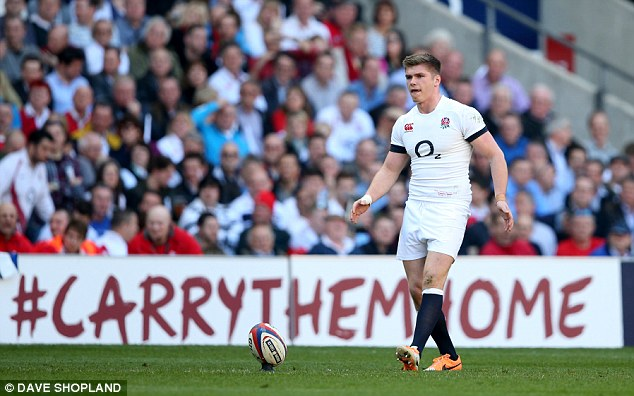 Eyes fixed: Owen Farrell prepares to kick England more points during the victory in London