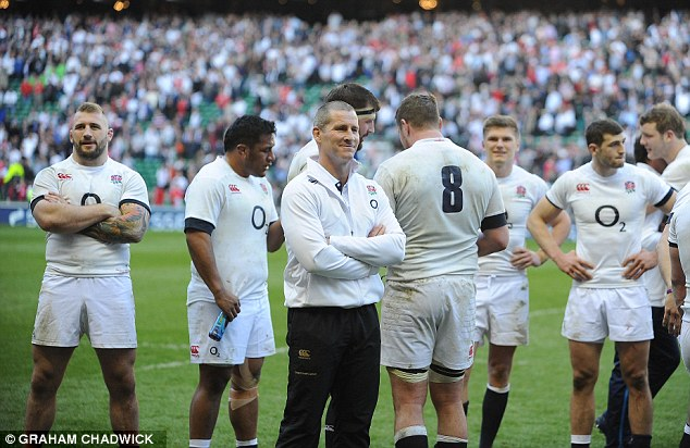Hard work pays dividends: Stuart Lancaster has a wide smile on his face after he masterminded the big victory
