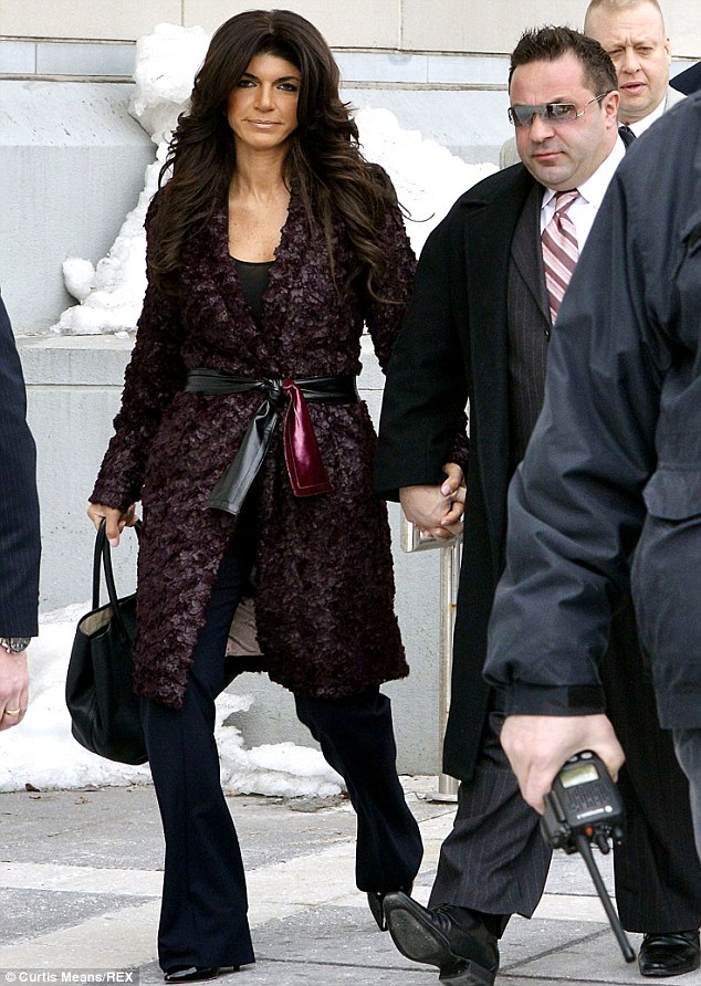 Legal fight: Teresa and Joe pictured at a New Jersey court facing fraud charges on Tuesday