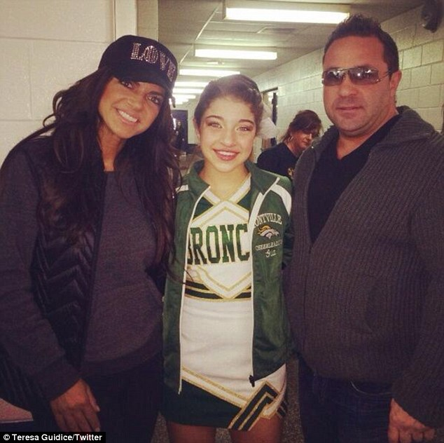 Cheering squad: Teresa and Joe Giudice supported their eldest daughter Gia at a cheer competition last weekend