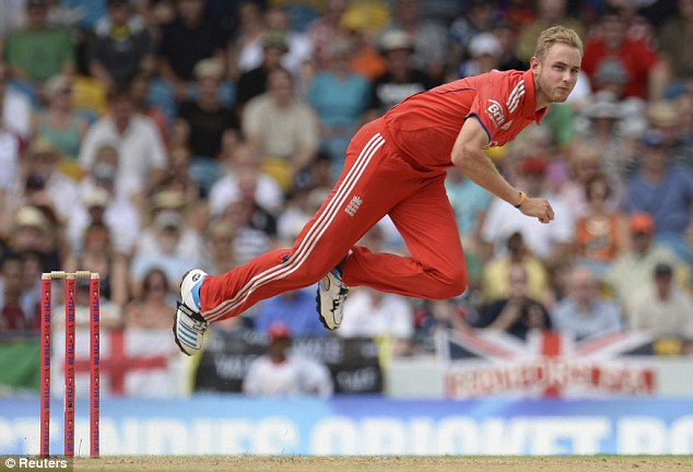 Sidelined: Broad is out of the remainder of the T20 series against West Indies