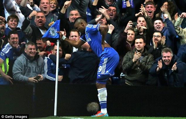 Chelsea pensioner: Eto'o celebrates his goal against Tottenham on Saturday