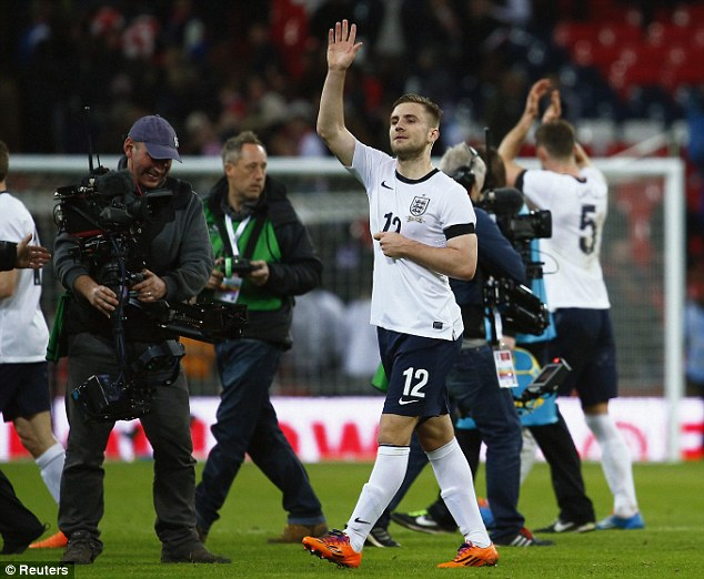 Pick me! Luck Shaw made his England debut against Denmark