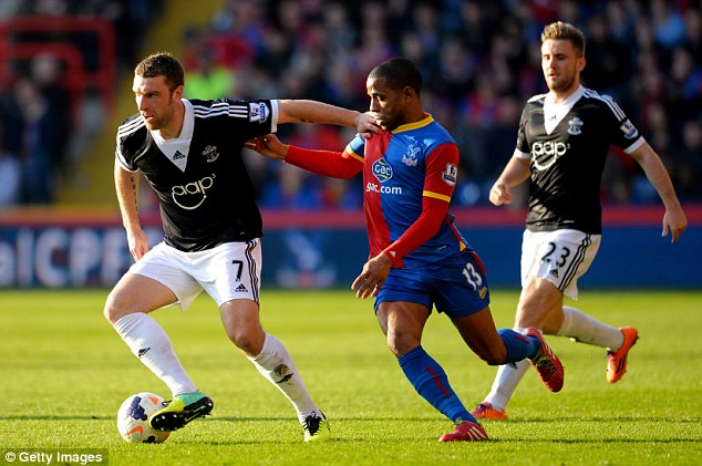 Hopefuls: Rickie Lambert and Luke Shaw in action during the 1-0 win over Crystal Palace on Saturday
