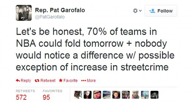 Offending: Garofalo said the tweet was not racist but about the culture of the NBA