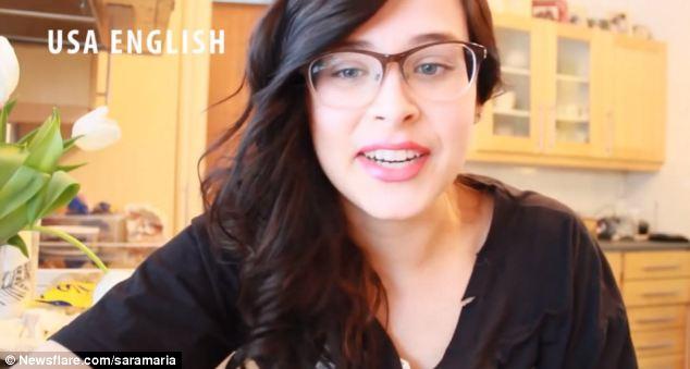 Body language: Sara adopts the distinctive grin of a California girl as she mimics the U.S. accent