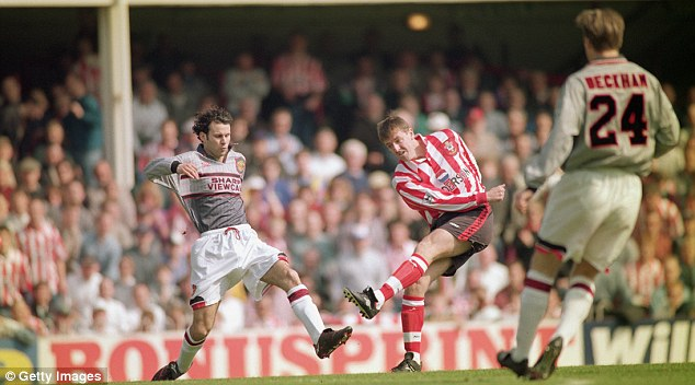 Dreadful: Manchester United were famously beaten at Southampton in 1996 in this horrible grey kit