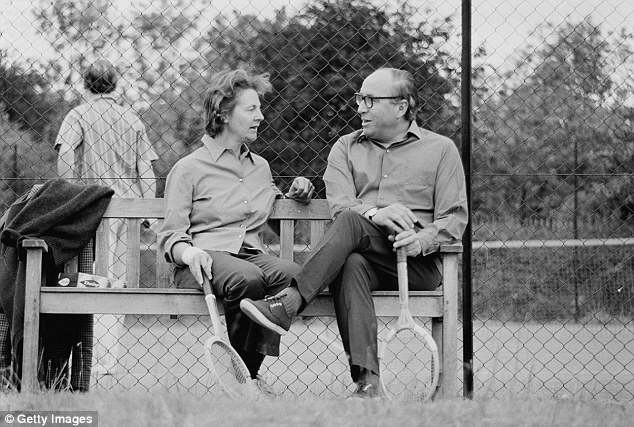 Relaxing: The then-Chancellor Roy Jenkins and his wife between games of tennis at their home in 1970