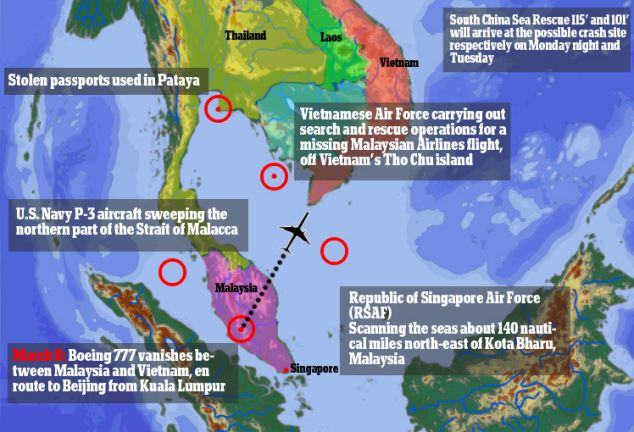 Flight MH370 disappeared from radar screens in the early hours of Saturday, about an hour into its flight from Kuala Lumpur. Searches for the plane are now taking place throughout the area