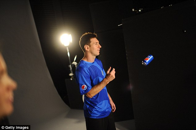 Star of the screen: Messi filming an advert for soft drink Pepsi in London last year