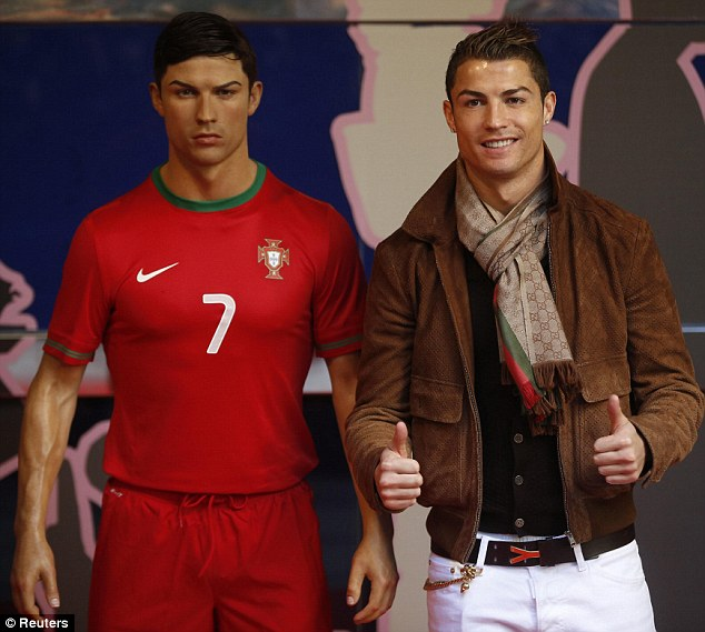 Spitting image: Ronaldo poses to a waxwork of himself at the Madrid Wax Museum back in December