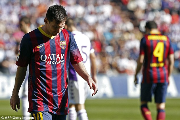 Pushed into second: Barcelona star Lionel Messi was just behind Ronaldo in the list with a worth of £120.5m