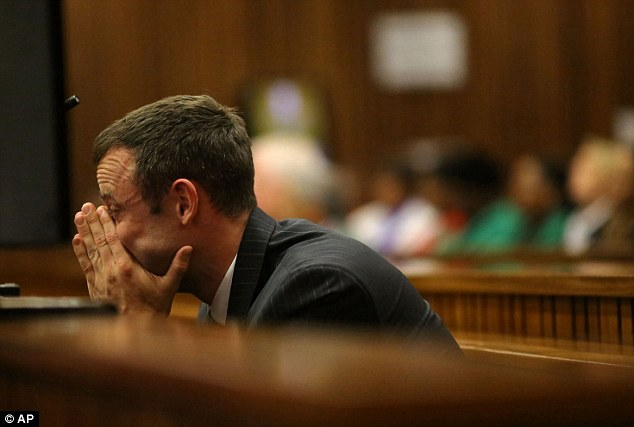 Distraught: Pistorius admitted shooting Miss Steenkamp, but denied murder, arguing that he wrongly believed she was a burglar