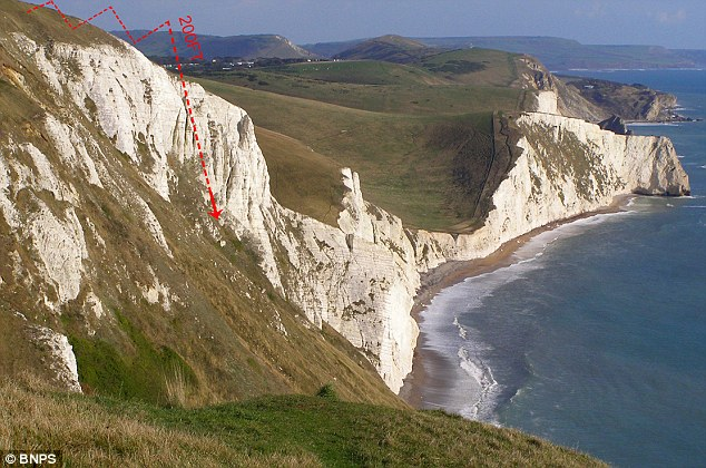 Scene: The two puppies bolted over a grassy ridge of the White Nothe cliffs near Weymouth, Dorset. Marley's 200ft fall is pictured on the image with a white line