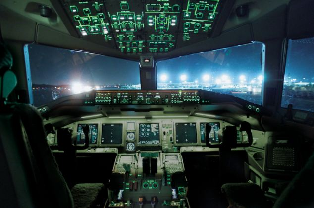 The service is being offered to 11,000 planes already equipped with an Inmarsat satellite connection, stock image of a Boeing 777 cockpit is pictured. The firm claims the service will cover 'virtually 100 per cent of the world's long haul commercial fleet'