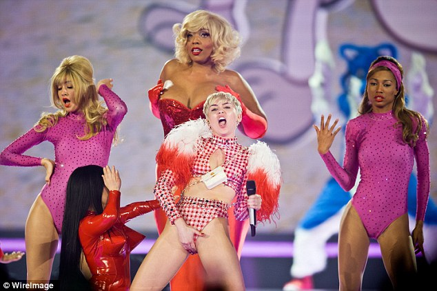 Outrageous: Miley certainly isn't shy when it comes to performing on stage for her latest world tour
