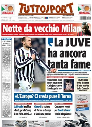 Looking ahead: Giorgio Chiellini is quoted as saying that Juvenuts are destined to be in the Europa League final in Tuttosport