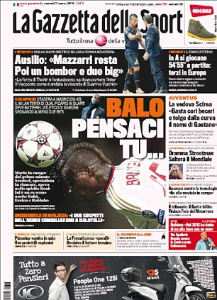 Key man returns: La Gazzetta della Sport go hard on how Mario Balotelli is primed to do the business against Atletico in their second leg